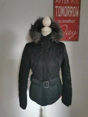 Edc by Esprit Damen Steppjacke Fake Fur Übergangsjacke schwarz Größe S