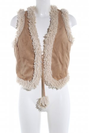 edc by Esprit Chaleco de piel marrón-blanco puro look casual