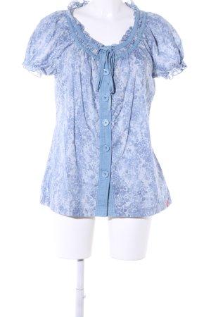edc by Esprit Kurzarm-Bluse blau Allover-Druck Casual-Look