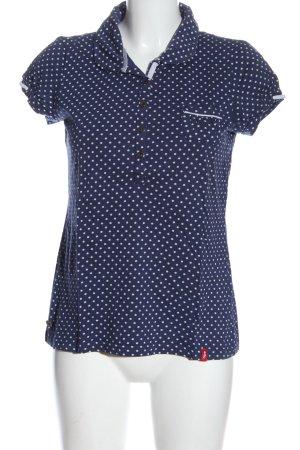 edc by Esprit Polo-Shirt blau-weiß Allover-Druck Elegant