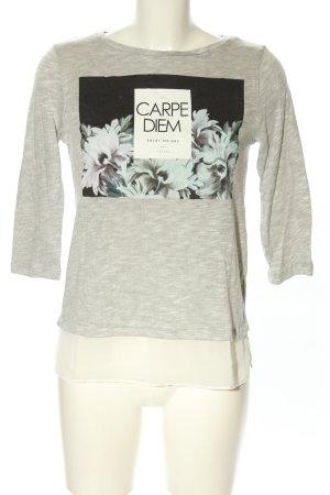 edc by Esprit Print-Shirt hellgrau-schwarz Blumenmuster Casual-Look