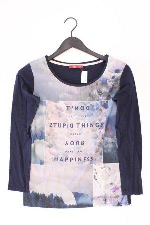 edc by Esprit Printshirt Größe XS mit Blumenmuster Langarm blau aus Baumwolle