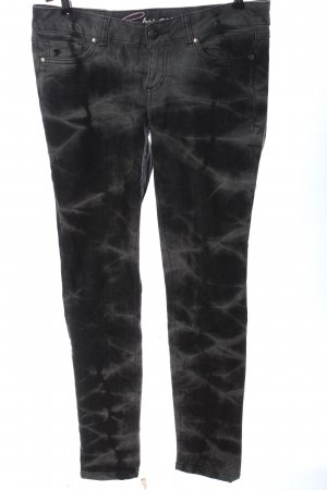 edc by Esprit Slim Jeans schwarz abstraktes Muster Casual-Look