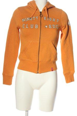 edc by Esprit Veste sweat orange clair lettrage imprimé style décontracté