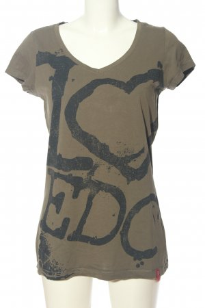 edc by Esprit T-Shirt braun-schwarz Motivdruck Casual-Look
