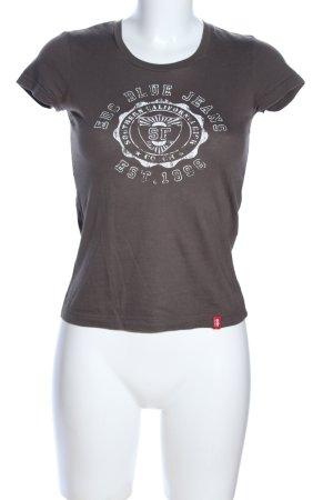 edc by Esprit T-Shirt braun Schriftzug gedruckt Casual-Look