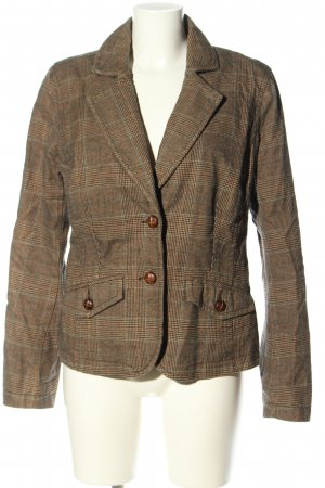 edc by Esprit Blazer in tweed marrone-turchese motivo a quadri stile casual