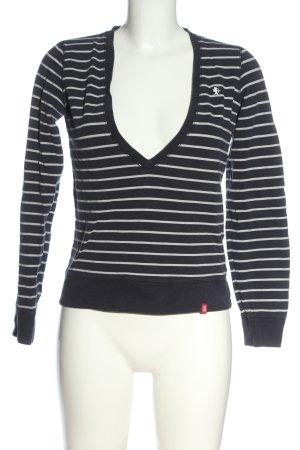 edc by Esprit V-Ausschnitt-Pullover schwarz-weiß Streifenmuster Casual-Look