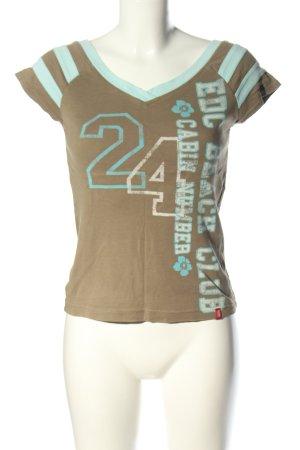 edc by Esprit Camisa con cuello V marrón-turquesa letras impresas look casual