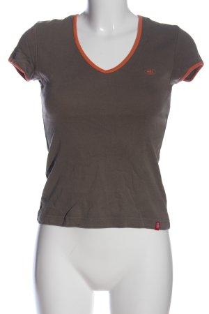 edc by Esprit Camisa con cuello V marrón-naranja claro letras impresas