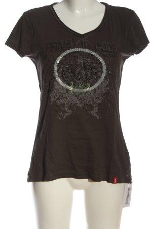 edc by Esprit Camisa con cuello V marrón-gris claro estampado temático