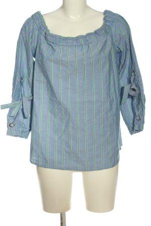edc Bluzka typu carmen niebieski-zielony Wzór w paski W stylu casual