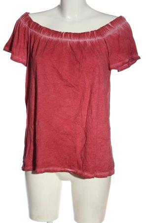 edc Carmen shirt rood gestippeld casual uitstraling