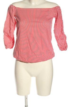 edc Carmen shirt rood-wit gestreept patroon casual uitstraling