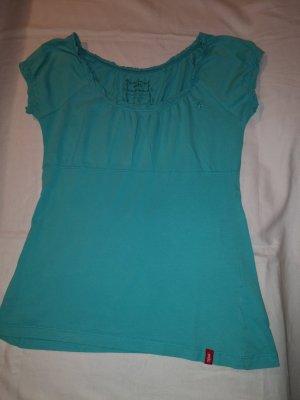 EDC Damen-Shirt mit Rundhals und einfarbig/ kurzarm