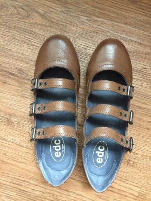 EDC Esprit Ballerina Schuhe Gr. 38 sandbraun / beige wie neu