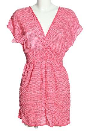 Edc Esprit Kurzarmkleid pink-weiß Allover-Druck Casual-Look