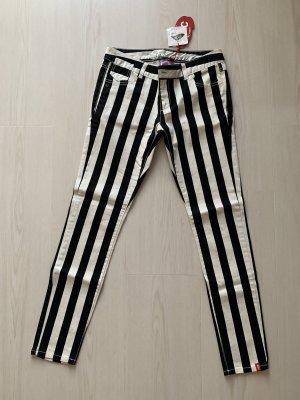 Edc Esprit Skinny Hose schwarz weiss Streifen