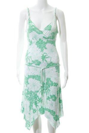 Edc Esprit Strandkleid weiß-grün Allover-Druck Logo-Applikation