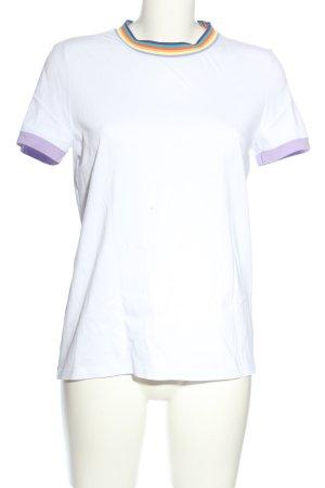 Edc Esprit T-Shirt weiß-lila Streifenmuster Casual-Look