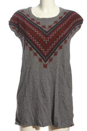 edc Fine Knitted Cardigan light grey-red graphic pattern casual look