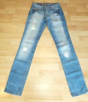 edc by Esprit Jeansy z prostymi nogawkami niebieski-błękitny Bawełna