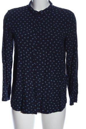 edc Hemd-Bluse blau abstraktes Muster Casual-Look