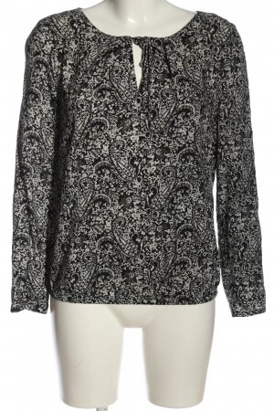 edc Hemd-Bluse schwarz-weiß abstraktes Muster Casual-Look