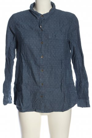 edc Hemd-Bluse blau-weiß Punktemuster Casual-Look