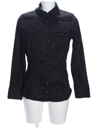 edc Hemd-Bluse schwarz Streifenmuster Casual-Look