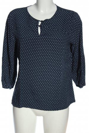 edc Hemd-Bluse blau-weiß Allover-Druck Casual-Look