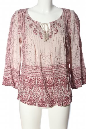 edc Hemd-Bluse pink-hellgrau Allover-Druck Casual-Look