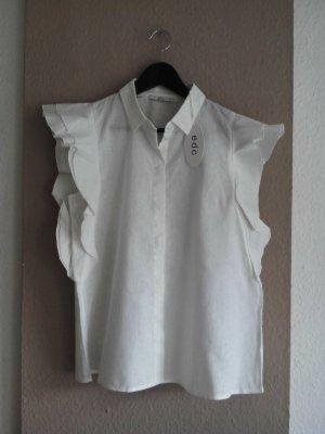 EDC hübsche Bluse mit Volant-Ärmeln aus Leinen und Baumwolle, Größe M neu