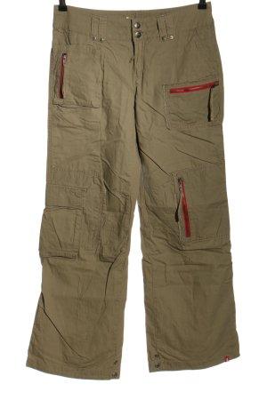 edc Spodnie biodrówki khaki-czerwony Nadruk z motywem W stylu casual
