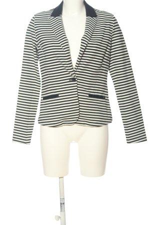 edc Jerseyblazer weiß-schwarz Streifenmuster Casual-Look