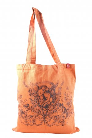 edc Burlap Bag light orange themed print casual look