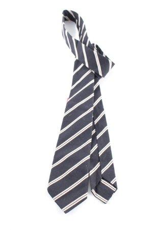 edc Szal krawatowy czarny-w kolorze białej wełny Wzór w paski