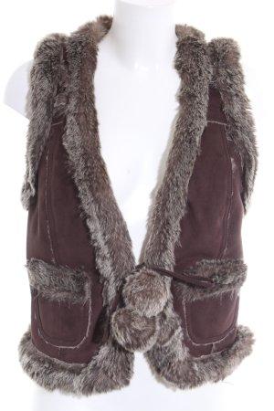 edc Fake Fur Vest brown casual look