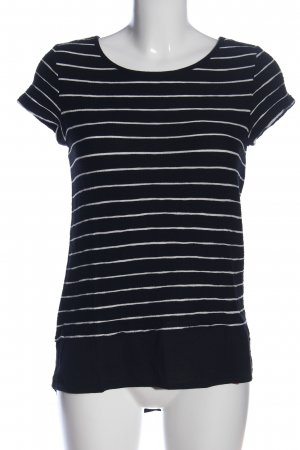 edc Kurzarm-Bluse schwarz-weiß Streifenmuster Casual-Look