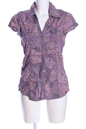 edc Kurzarm-Bluse lila-pink abstraktes Muster klassischer Stil