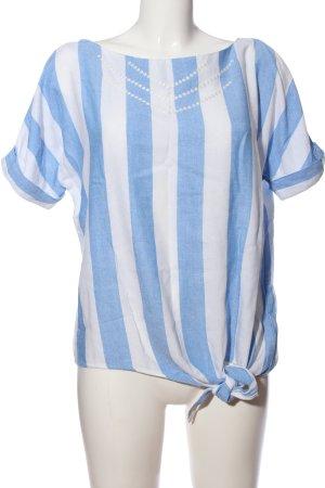 edc Kurzarm-Bluse blau-weiß Streifenmuster Casual-Look