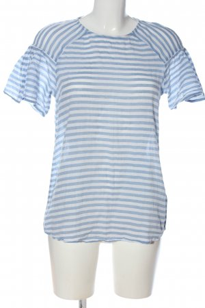edc Kurzarm-Bluse blau-weiß Allover-Druck Casual-Look
