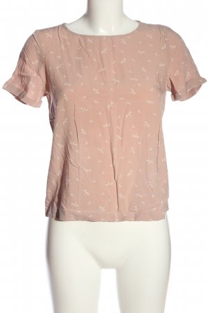 edc Kurzarm-Bluse pink-weiß Allover-Druck Casual-Look