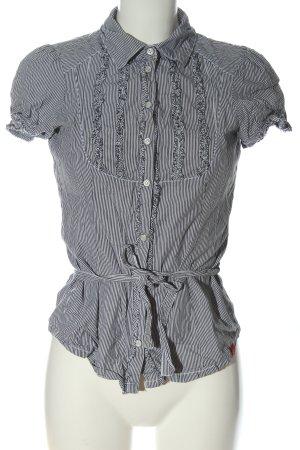 edc Camicia a maniche corte nero-bianco motivo a righe stile casual