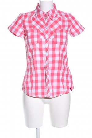 edc Short Sleeve Shirt red-white check pattern casual look