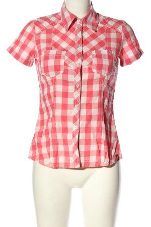 edc Kurzarmhemd pink-weiß Karomuster Casual-Look