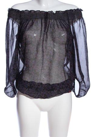 edc Langarm-Bluse abstraktes Muster Elegant
