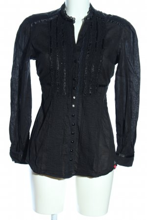 edc Langarm-Bluse schwarz Business-Look
