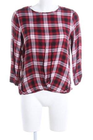 edc Langarm-Bluse rot-weiß Karomuster Casual-Look
