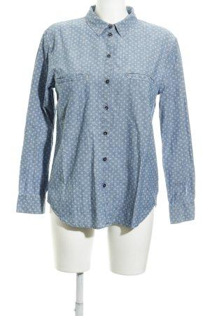 edc Langarmhemd blau-weiß Punktemuster Casual-Look
